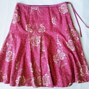 J. Crew Pink & White Floral Fit & Flare Skirt